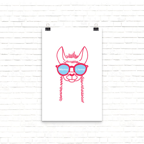 Mama Llama illustrated wall print