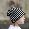 Reversible striped/solid beanie
