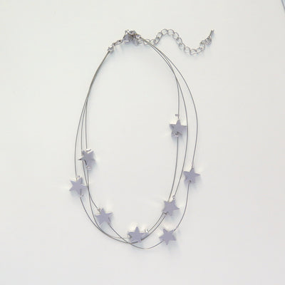Silver Star layered choker necklace
