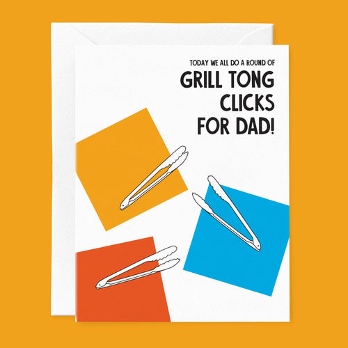Grill Tong Clicks For Dad Father's Day card
