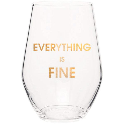 Everything is Fine - Gold Foil Stemless Wine Glass
