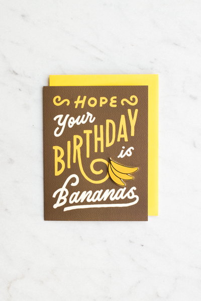 """Bananas Birthday"" enamel pin card"