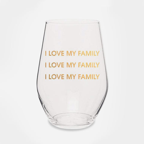 I Love My Family I Love My Family - Gold Foil Stemless Wine Glass - Image