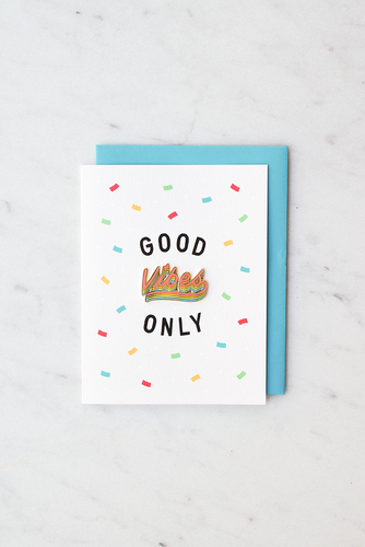 """Good Vibes Only"" enamel pin card"