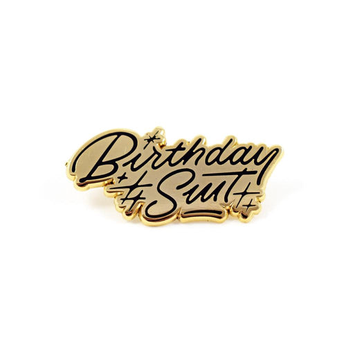 """Birthday Suit"" enamel pin card"