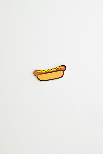 """Hot Diggity Dog!"" enamel pin card"