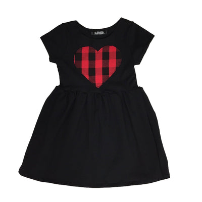Plaid heart patch dress
