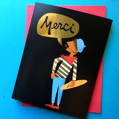 """Merci"" gold foil thank you card"