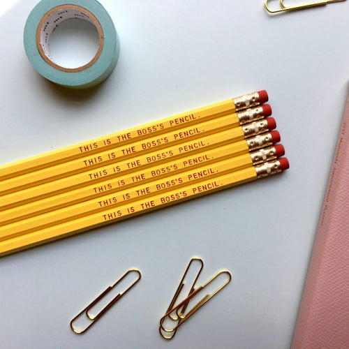 """THIS IS THE BOSS'S PENCIL"" pencil set"