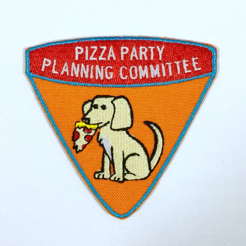 """Pizza Party Planning Committee"" iron-on patch"