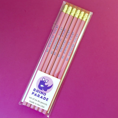 """No Shrinking Violet"" pencil set"