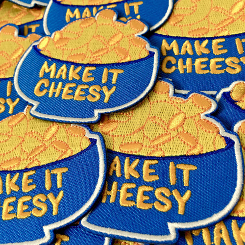 """Make it Cheesy"" iron-on patch"