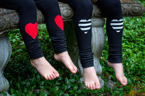 Striped Heart Patch Leggings