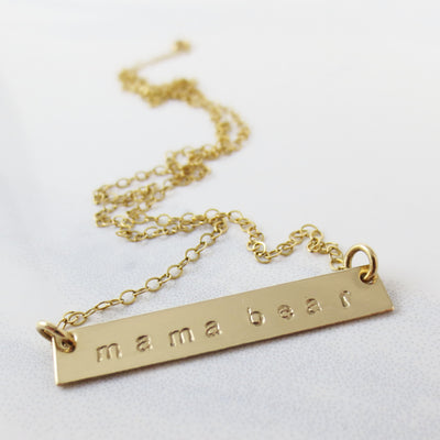 Mama Bear classic bar necklace