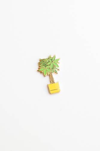 """Too Broke Plant"" enamel pin card"