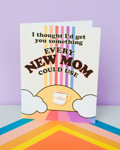 """New Mom"" enamel pin card"