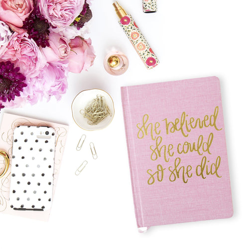 She Believed She Could Pink and Gold Fabric Journal