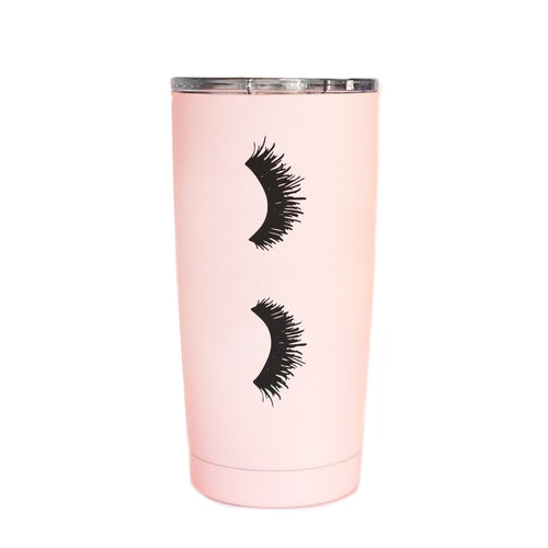 Eyelashes Pink Metal Travel Mug