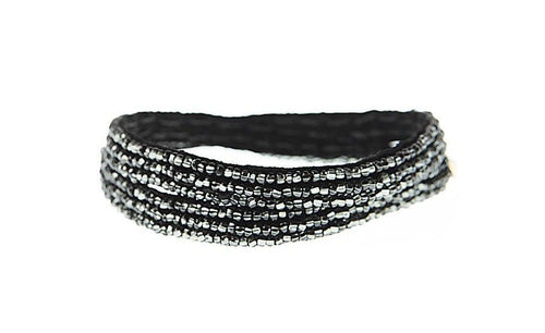 Shiny Graphite Simple XS Double Wrap Bracelet by Sidai Desings