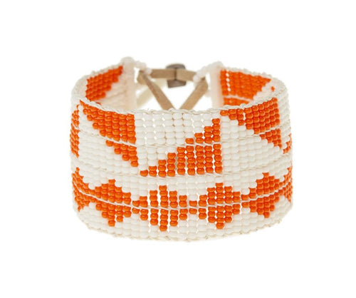 Orange and White Mixed Pattern Warrior Braceelt by Sidai Designs