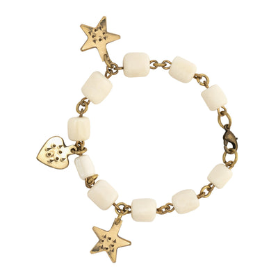 White Bone and Brass Charm Bracelet by Annabelle Thom