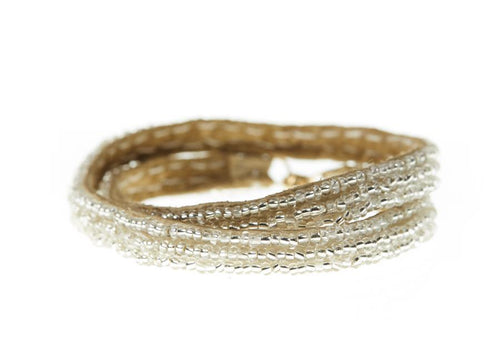 Shiny Silver Simple XS Double Wrap Bracelet by Sidai Designs