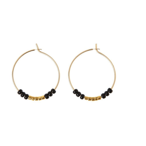 Black and Gold XS Hoop Earrings by Sidai Designs