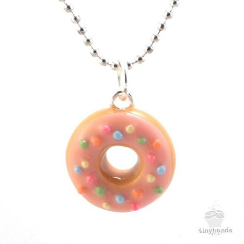 Scented or Unscented Strawberry Sprinkles Donut Necklace