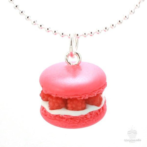 Scented or Unscented Raspberry French Macaron Necklace