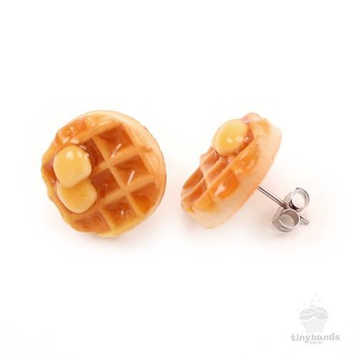 Scented or Unscented Maple Syrup Waffle Earstuds
