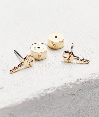 Mini Key Post Earrings SM