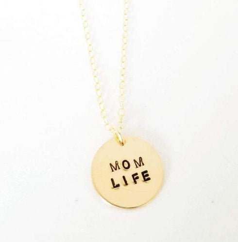 Mom Life disc necklace