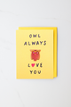 """Owl Love"" enamel pin card"