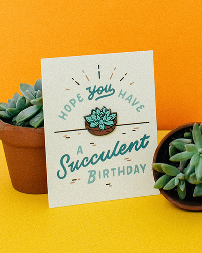 """Succulent Birthday"" enamel pin card"