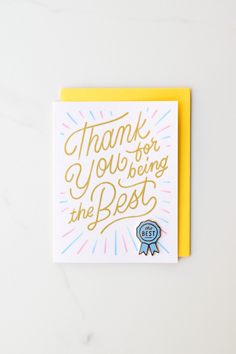 """Thanks For Being The Best"" enamel pin card"