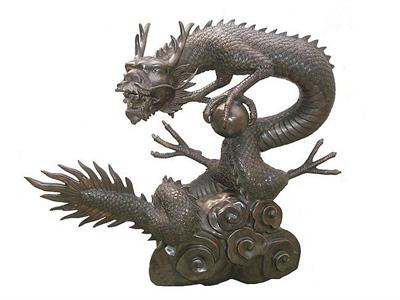 Large Chinese Dragon Sculpture with Orb