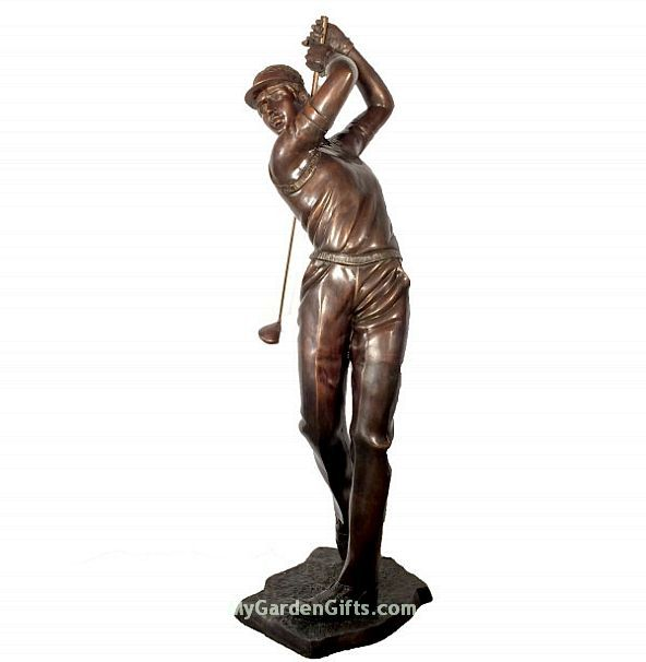 Young Golfer Life Size Sculpture