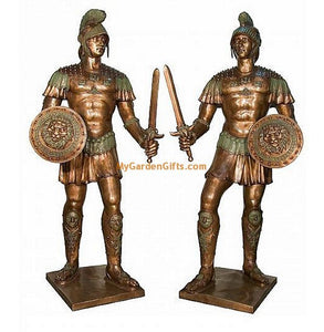 Pair of Ancient Roman Soldiers - Bronze Sculptures