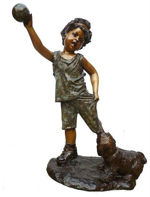 Girl Playing with her Dog Sculpture