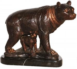 Mother and Baby Bear Bronze Sculpture