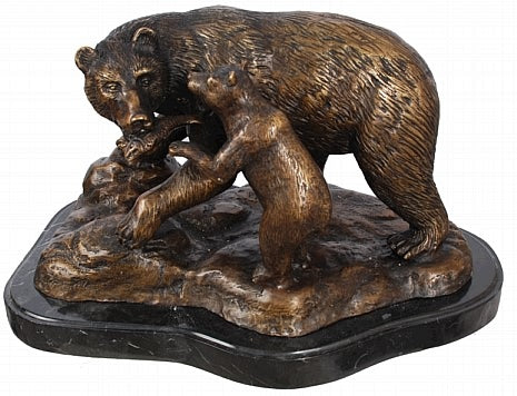Bronze Mother and Baby Bear