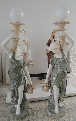 Set of Two Classical Women with Lamps