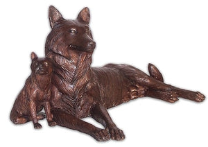 Lying Down Mother Wolf and Pup Bronze Sculpture