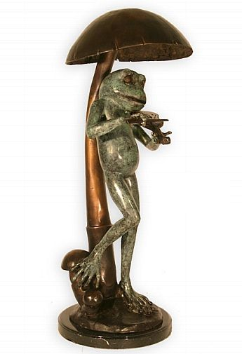 Frog with Violin Sculpture