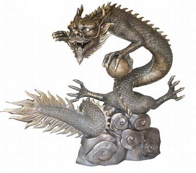 Life Size Dragon Sculpture with Pearl