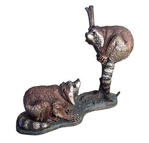 Raccoons Are Having a Playtime Bronze Sculpture