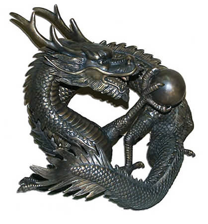 Chinese Dragon with Orb Sculpture