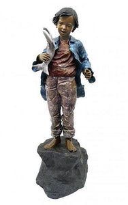 "58""H Boy with Fish Statue"
