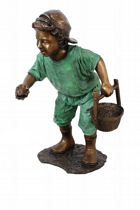 Boy with Frog and Pail Fountain Sculpture
