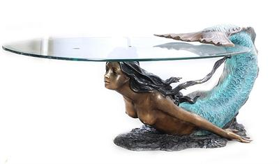 Swimming Mermaid Glass Table